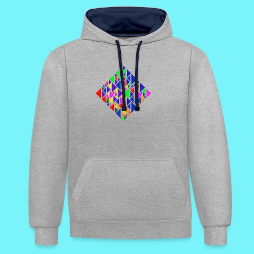 A square school of triangular coloured fish - Contrast Colour Hoodie