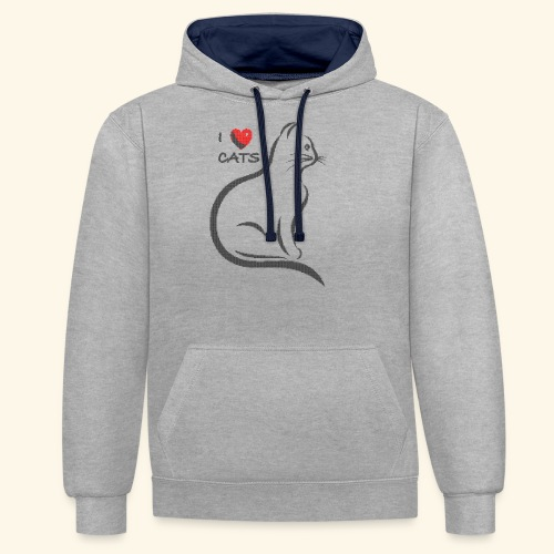 I love cats. Dark stitched design - Kontrast-Hoodie