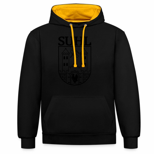 Suhl Coat of Arms (black) - Contrast Colour Hoodie