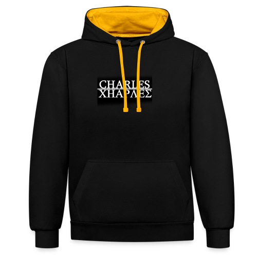 CHARLES CHARLES BLACK AND WHITE - Contrast Colour Hoodie