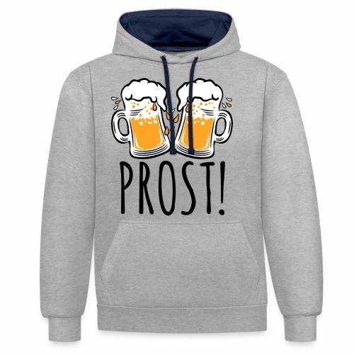 03 Zwei Mass Bier PROST 3c - Kontrast-Hoodie