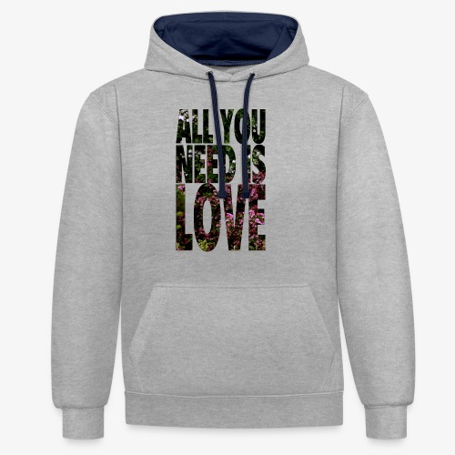 All You need is love - Bluza z kapturem z kontrastowymi elementami