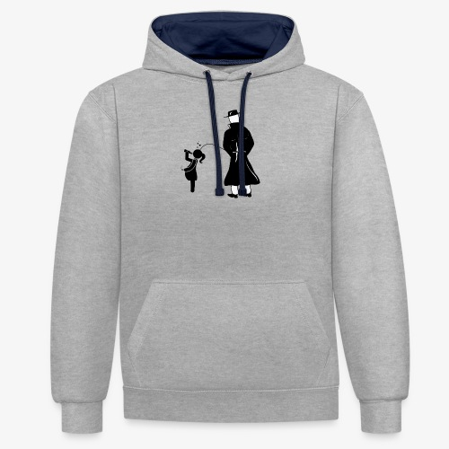 Pissing Man against irresponsible pregnancies - Kontrast-Hoodie