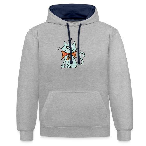 NIedliche blaue Katze - Kontrast-Hoodie