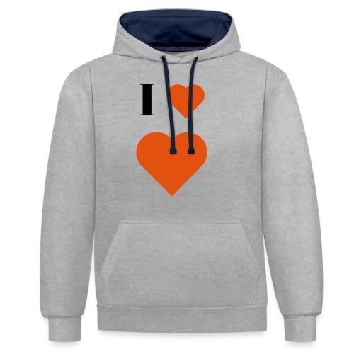 I Heart heart - Contrast Colour Hoodie