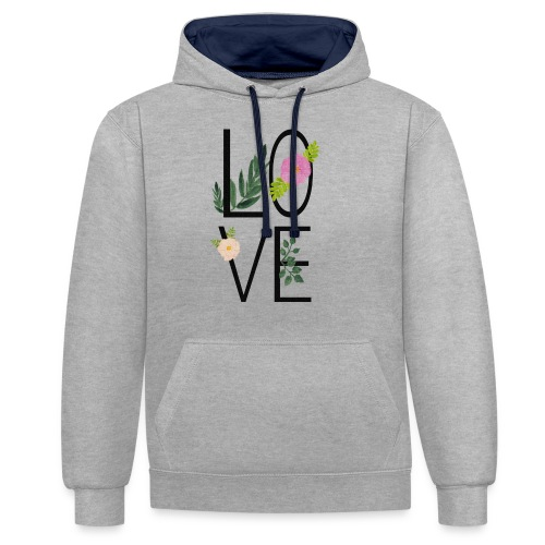 Love Sign with flowers - Contrast Colour Hoodie