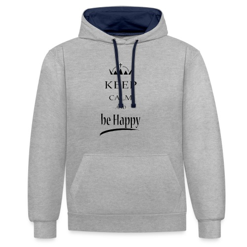 keep_calm and_be_happy-01 - Felpa con cappuccio bicromatica
