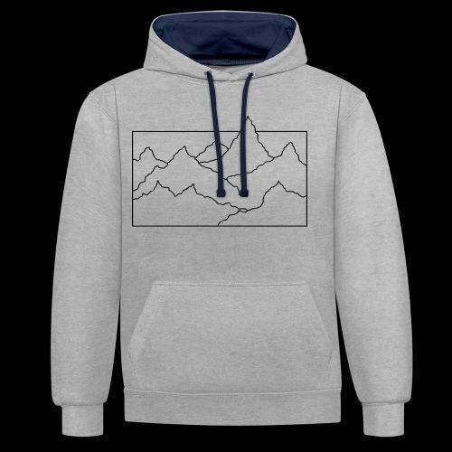 Kontur Gebirge schwarz - Kontrast-Hoodie