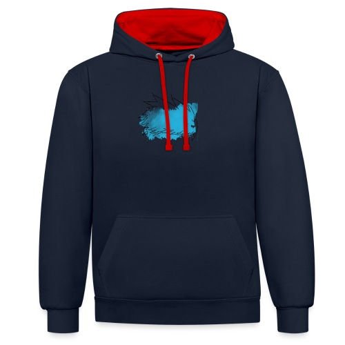 Blue Splat Original - Contrast Colour Hoodie