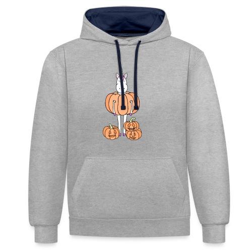 Unicorn & pumpkins - Felpa con cappuccio bicromatica