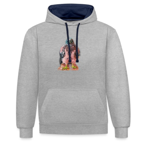 Pink bird growing 2 - Kontrast-Hoodie