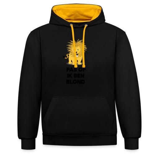 Pas op ik ben blond een cartoon van blonde leeuw - Contrast hoodie