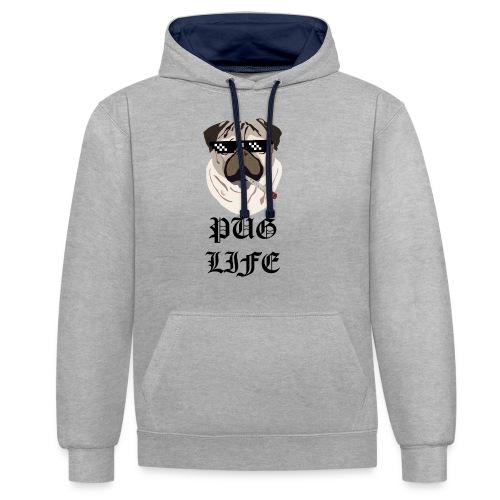 Pug Life - Kontrast-hættetrøje
