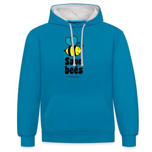 Bees9-1 save the bees | Bienen Blumen Schützen - Contrast Colour Hoodie