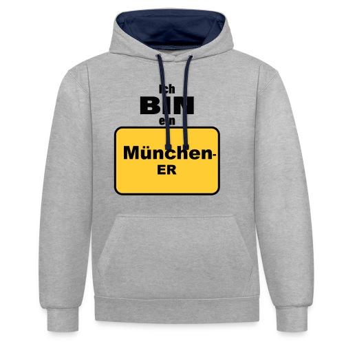 München/Ich bin ein Münchener - Kontrast-Hoodie