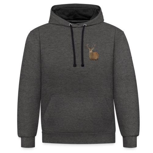 Cerf Low poly hoodie - Sweat-shirt contraste