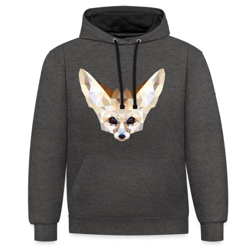 Fennec low poly - Sweat-shirt contraste