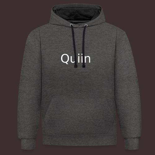 White_Quiin_outline - Kontrast-Hoodie