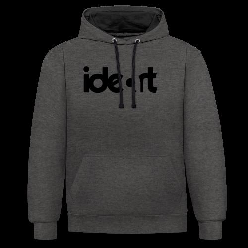 ideart logo sort - Kontrast-hættetrøje