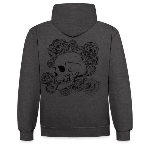 Teschio con fiori, disegno in inchiostro nero - Felpa con cappuccio bicromatica