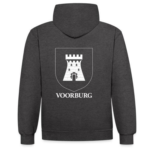 Voorburg wapen diapositief wit - Contrast hoodie