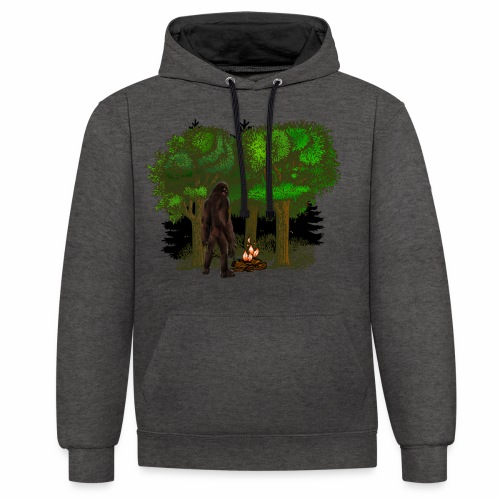 Bigfoot Campfire Forest - Contrast Colour Hoodie