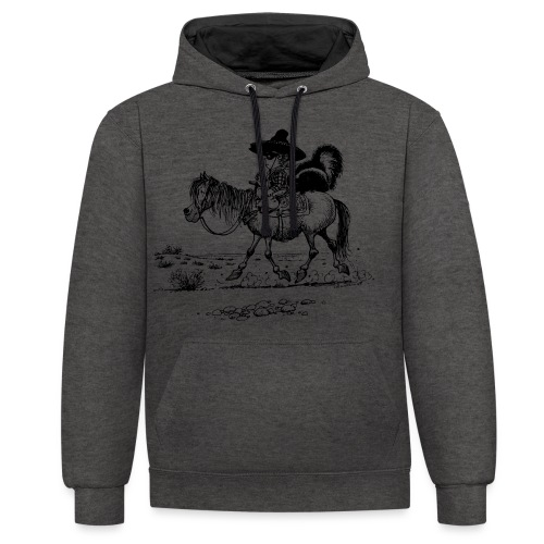 Thelwell 'Cowboy with a skunk' - Contrast Colour Hoodie