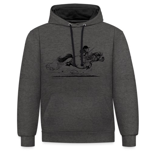 Thelwell Cartoon Pony Sprint - Kontrast-Hoodie