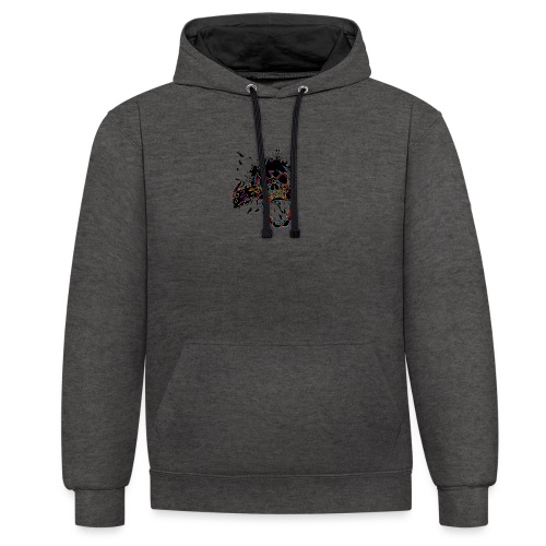 Shot Skull - Contrast Colour Hoodie