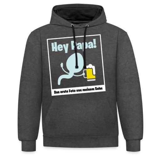 Geschenk für werdende Väter Bier Papa Schwanger - Kontrast-Hoodie