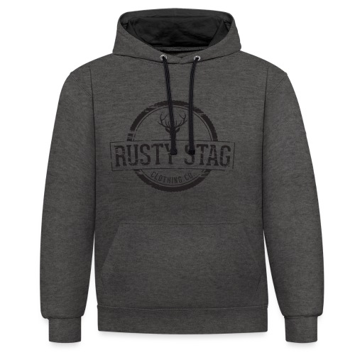 Rusty Stag Weathered Crest - Contrast Colour Hoodie