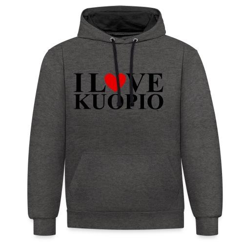 I LOVE KUOPIO (koko teksti, musta) - Kontrastihuppari