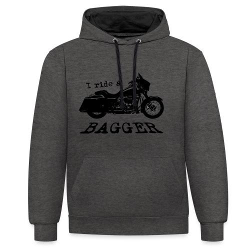 I ride a bagger - sort - Kontrast-hættetrøje