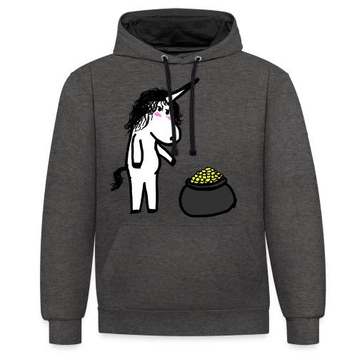 Oro unicorno - Felpa con cappuccio bicromatica