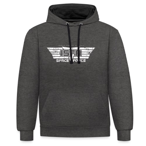 ISFA Spaceforce White grunge - Kontrast-Hoodie