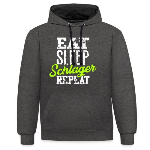 Eat Sleep Schlager Repeat! Geschenkidee Funshirt - Kontrast-Hoodie