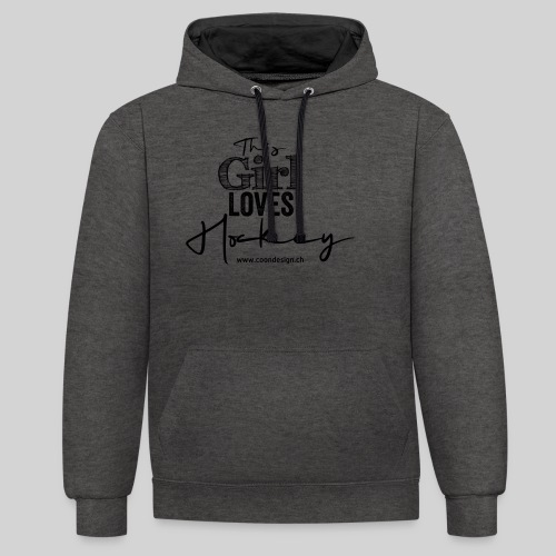 This Girl loves Hockey (black) - Kontrast-Hoodie