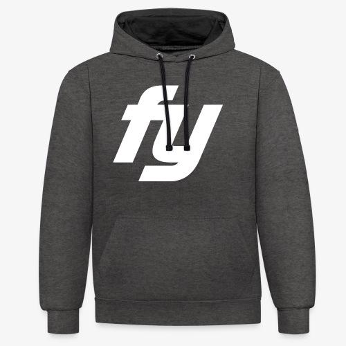 Logo Trendy Weiss - Kontrast-Hoodie