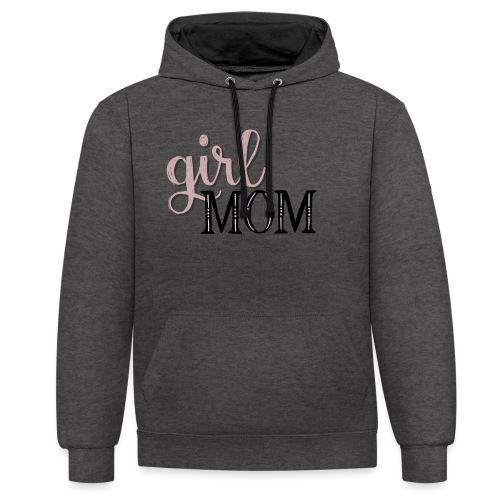 Schriftzug Girl Mom - Kontrast-Hoodie