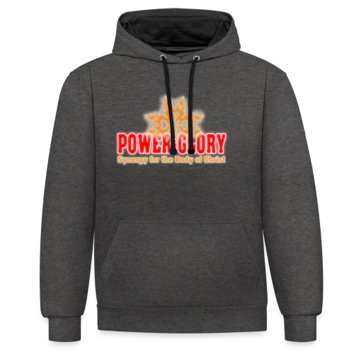 Power and Glory Logo glow red and orange - Contrast Colour Hoodie