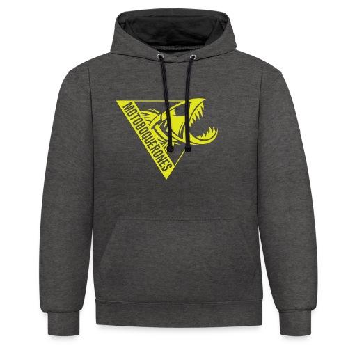 Logo Motoboquerones amarillo - Sudadera con capucha en contraste