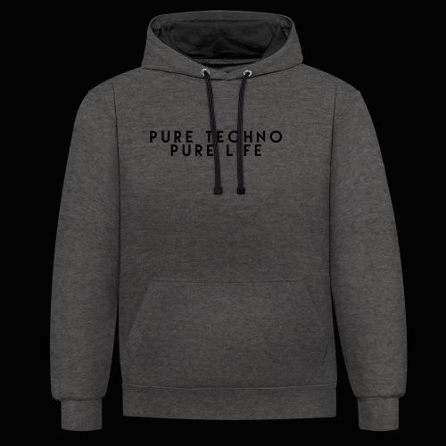 Pure Techno Pure Life Black - Kontrast-Hoodie