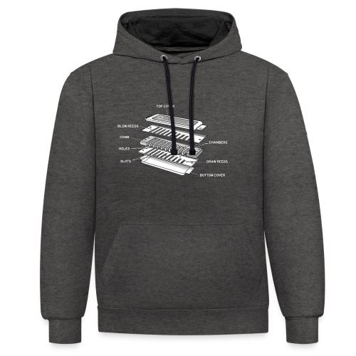 Exploded harmonica - white text - Contrast Colour Hoodie