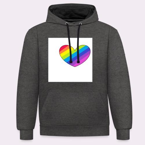 rainbow heart - Contrast Colour Hoodie