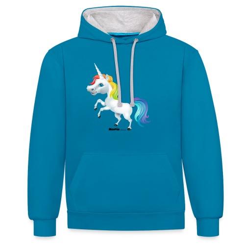 Regenboog eenhoorn - Contrast hoodie