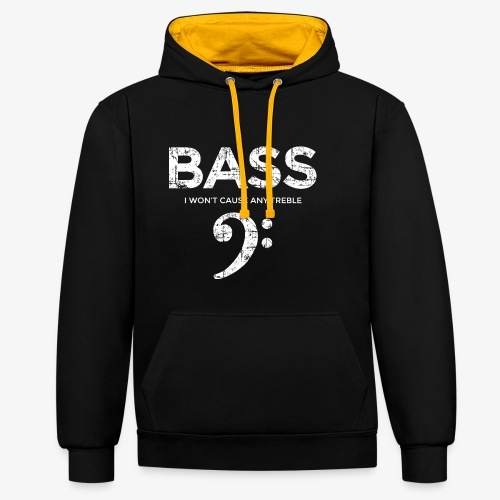 BASS I wont cause any treble (Vintage/Weiß) - Kontrast-Hoodie