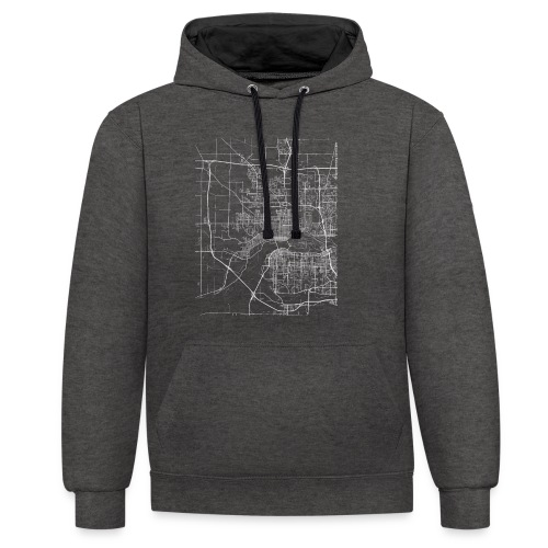 Minimal Davenport city map and streets - Contrast Colour Hoodie