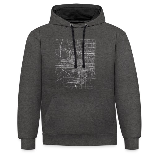 Minimal South Bend city map and streets - Contrast Colour Hoodie