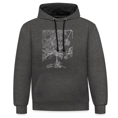 Minimal Woodbridge city map and streets - Contrast Colour Hoodie