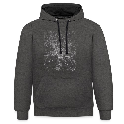 Minimal Tuscaloosa city map and streets - Contrast Colour Hoodie